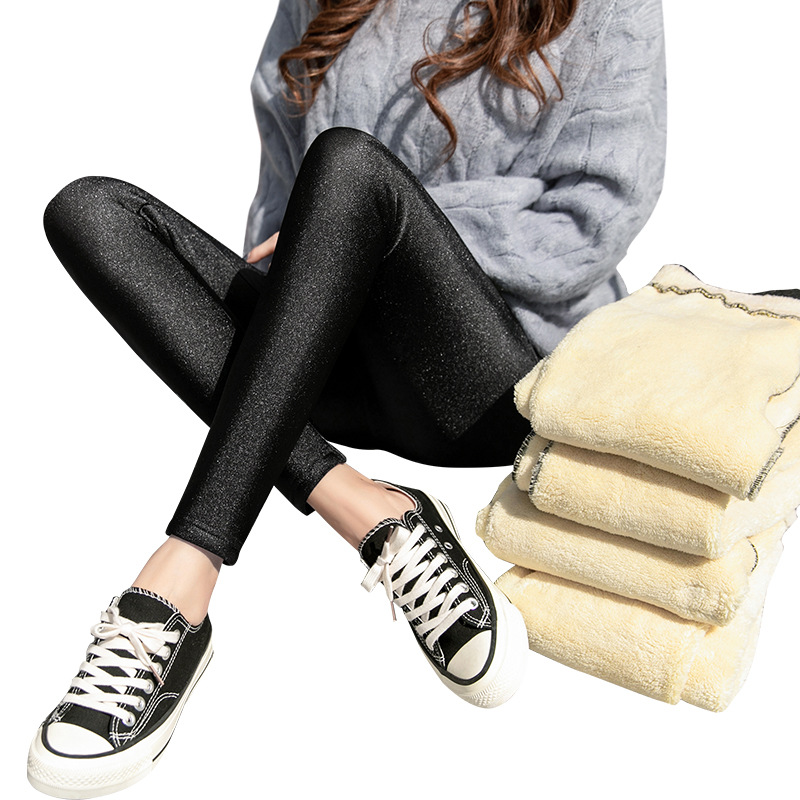 Stretchy Lambskin Cashmere Pants Push Up Leggings Women Black Sexy Leggins Shiny Legging Winter Thick Wool Fleece Slim Leggings