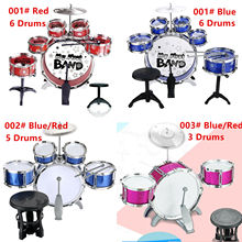 Children Kids Jazz Drum Set Kit Musical Educational Instrument Toy 3/5/6 Drums + 1 Cymbal with Small Stool Drum Sticks for Kids