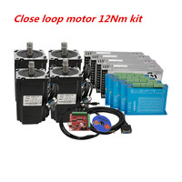 CNC kit Nema 34 86HB250 156B 12Nm close loop servo Motor & HBS860H Hybrid servo driver+400w power supply for CNC linear actuator