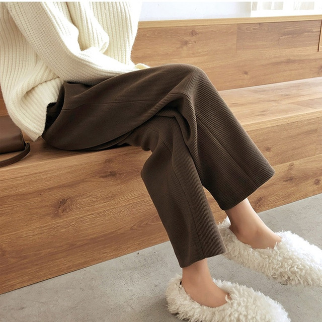 Elegant High Waist Corduroy Pants 1