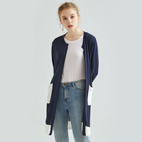 New Autumn Winter Coat Sweater Women's Female Cardigan Long Section V neck Long sleeved Loose Coat Jacke Pockets Cardigan Women
