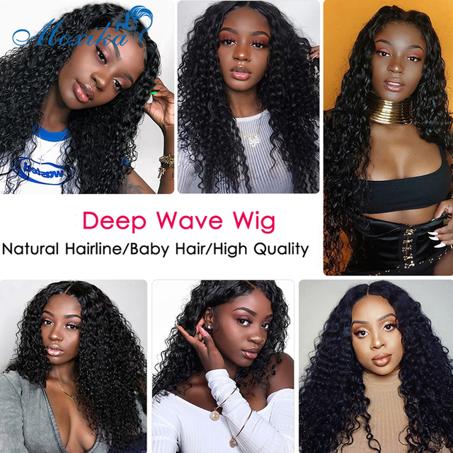Deep Wave Closure Wig Human Hair Lace Frontal Wigs 180 Lace Front Wig Pre Plucked Bleached Knots Wigs Remy 4x4 Frontal Lace Wig 5
