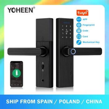Умный электронный дверной замок YOHEEN, Wi-Fi, с приложением Tuya, биометрический, сканер отпечатка пальца, с паролем, RFID-картой