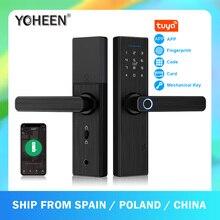 YOHEEN Wifi elektroniczny inteligentny zamek do drzwi z aplikacją Tuya, bezpieczeństwo biometryczna blokada z użyciem linii papilarnych hasło karta RFID