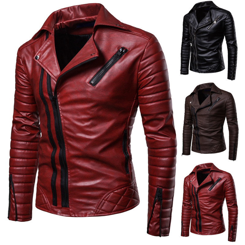 2019New Hollow Men's Plus Size Casual Windproof Motorcycle Leather Faux Leather Jacket Personality Male Street Clothing Coat Fur