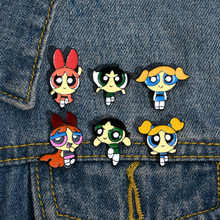 Powerpuff kız broş ve emaye Pin Anime Powerpuff kızlar Metal yaka yaka Pin(China)
