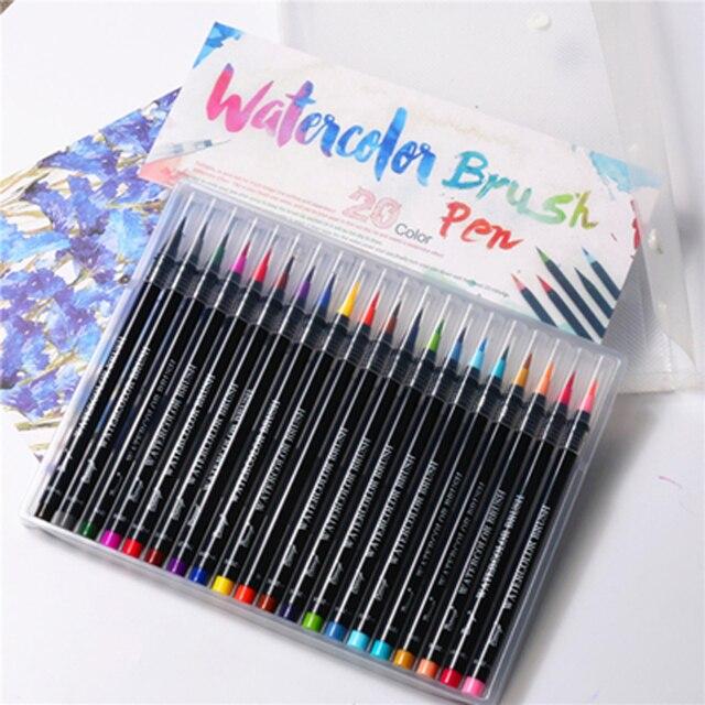 20 Kleuren Schilderen Zachte Borstel Pen Aquarel Marker Pen Premium Art Markers Voor Coloring Kalligrafie Manga Manga Comic