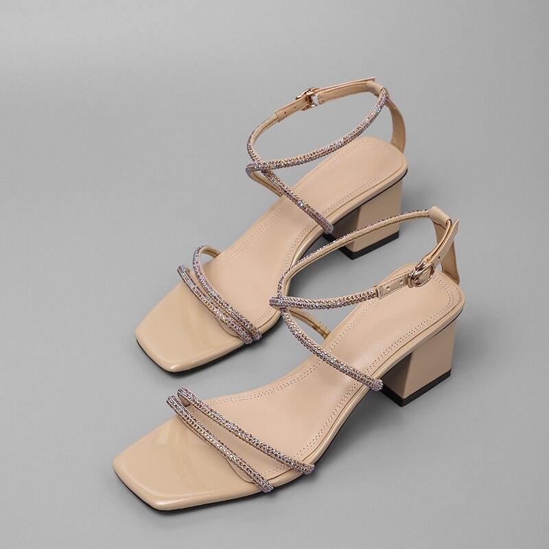 Grandes sandales à talons carrés en cuir pu strass pour femmes à bout ouvert d'été élégantes pour femmes robe pompes à bandoulière chaussures de soirée
