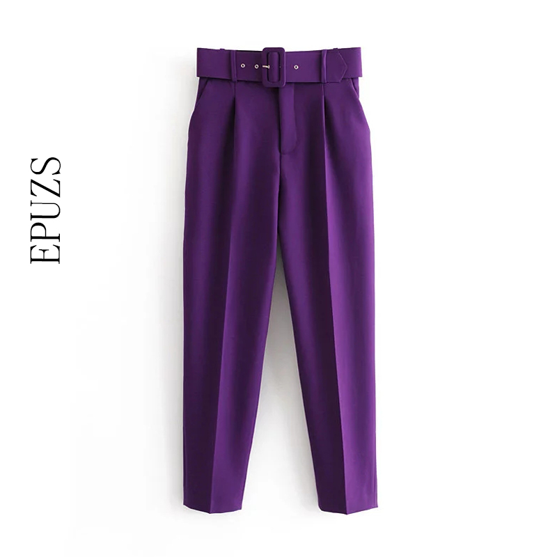 Elegant Black Purple Harem Pants Women Winter Pants Pockets Zipper Office Casual Pants High Waist Long Trousers Women