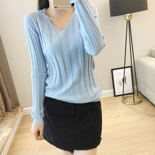 LHZSYY 2019Autumn Winter New Womens Knitted V-Neck Sweater Solid Color Pit design Slim Bottoming shirt Short Warm Wild Pullover