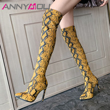 ANNYMOLI Winter Thigh High Boots Women Snake Print Thin Heel Over the Knee Sexy Slim Extreme Shoes Ladies Autumn
