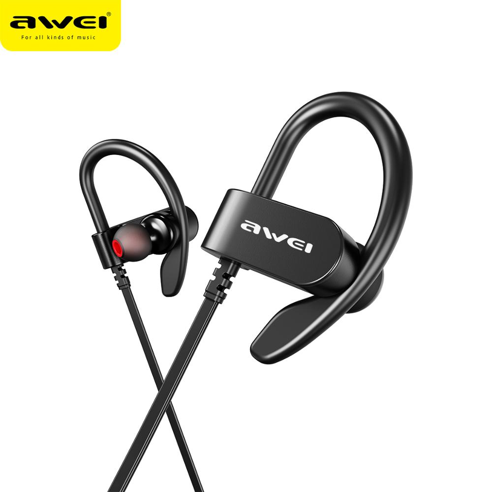 AWEI WT50 Sport Drahtlose Kopfhörer Bluetooth Dual Power!! ohr-haken Wasserdicht IPX4 Headset Noise Reduction HiFi Stereo Sound