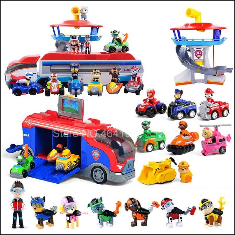 Ensemble de jeu en plastique troué observatoire patrouille Bus Patrulla Canina jouets avec musique figurines d'action Juguetes enfants enfants