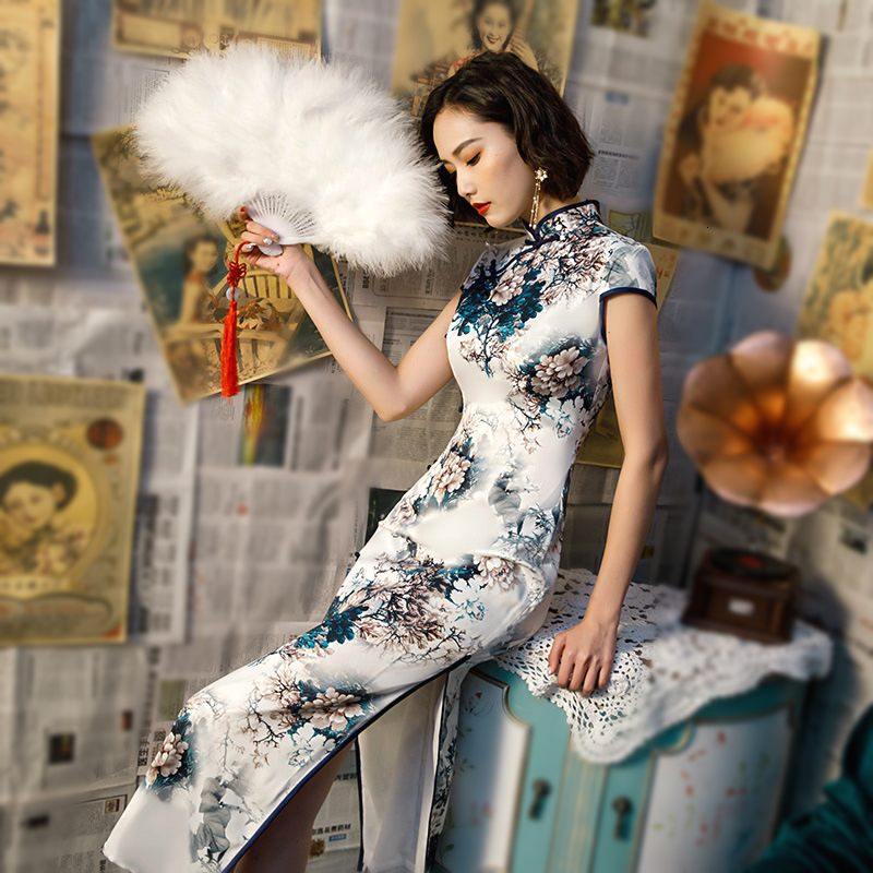 13 Color Plus Size 4XL Chinese Dresses Cheongsam Modern Long Female Silk Chinese Style Qipao Dress Elegant Traditional Clothing