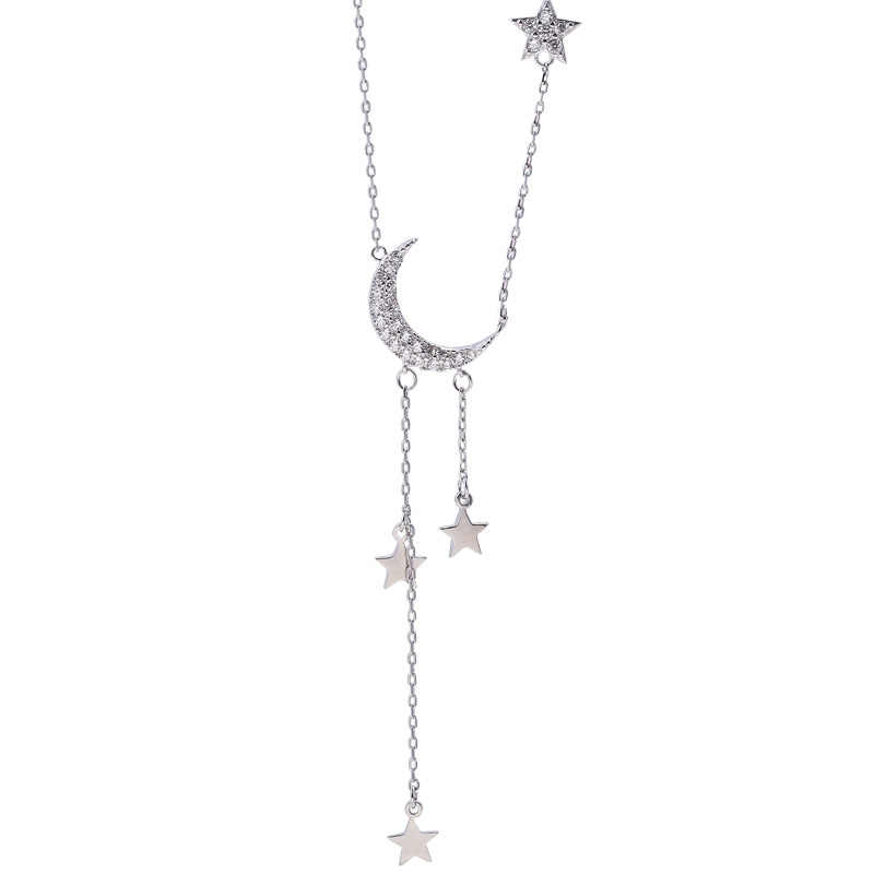 ANENJERY หวาน 925 Sterling Silver Star Moon พู่สร้อยคอผู้หญิง Choker collares งานแต่งงานเครื่องประดับ S-N453