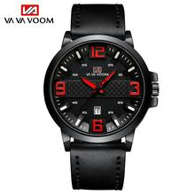 New Mens Watches Top Brand Luxury Big Dial Blue Red Military Quartz Wrist Watch Leather Waterproof Sport Watch orologio uomo sterile dial 2019 new luxury watch fashion stainless steel watch for man automatic analog wrist watch orologio uomo hot sales