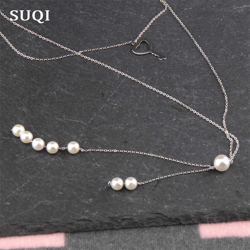SUQI Boho Collares สำหรับผู้หญิง Vintage สแตนเลสสตีลเงินยาว Pearl Statement Multilayer สร้อยคอจี้เครื่องประดับ