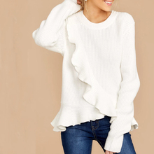 New Fashion Solid Color Cross Ruffled Pullover Autumn Winter Round Neck Sweaters Female Casual Long Sleeve White Sweater 3XL цены