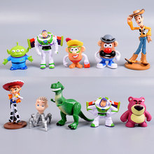 цена на Disney 10pcs Toy Story 3 Woody Buzz Lightyear Jessie PVC Action Figure Toys Dolls Children Gifts