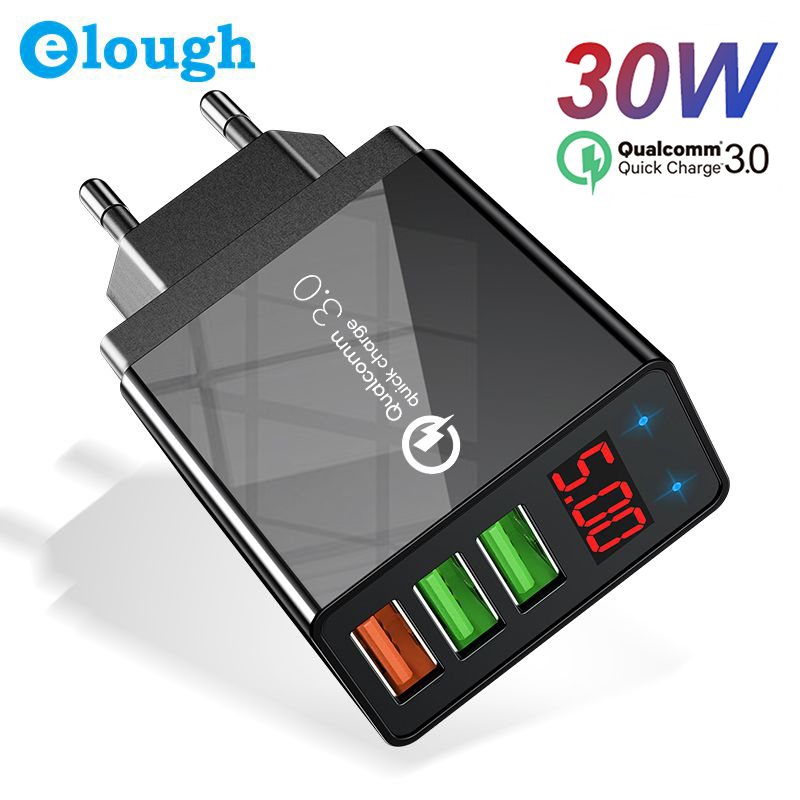 Elough Quick Charge 3.0 USB Charger For IPhone 11 7 Xiaomi Samsung Huawei 5V 3A Digital Display Fast Charging Wall Phone Charger