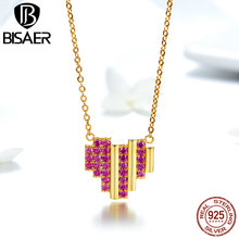 BISAER Authentic 925 Sterling Silver Gold Color Mosaic Red CZ Heart Pendant Necklace for Women Valentine's Gifts Jewelry GAN014 bisaer authentic 925 sterling silver gold color mosaic red cz heart pendant necklace for women valentine s gifts jewelry gan014