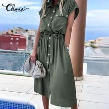 Celmia Summer Sundress Women Elegant Dress Plus Size Short Sleeve Casual Loose Buttons High Waist Work Midi Vestidos Robe S-5XL