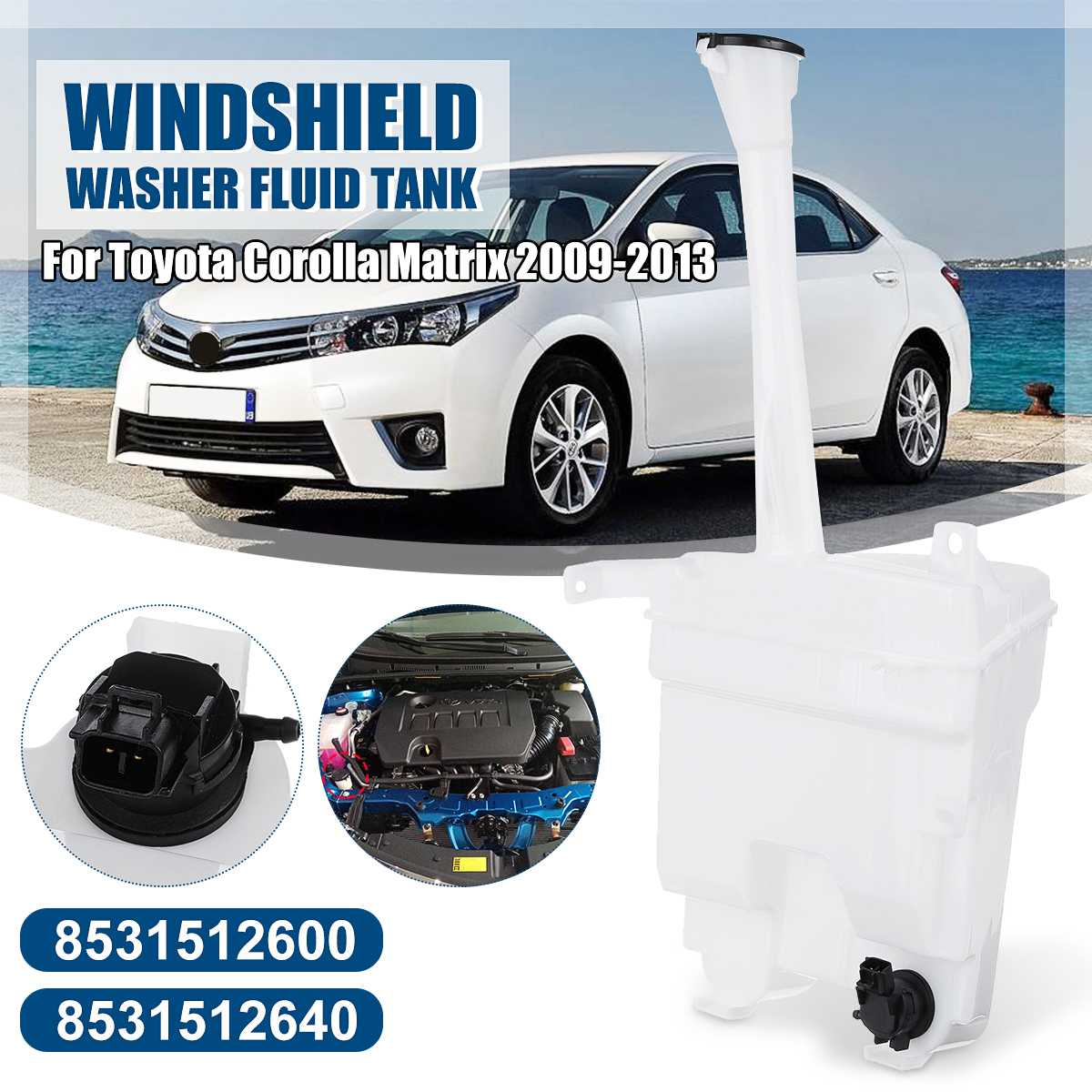 Pair Car Windshield Washer Fluid Reservoir Tank Cap Pump W/Motor For Toyota Corolla/Matrix 2009-2013
