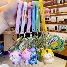 NEW Creative Funny Keychain Cute Cat Duck Series PVC Silicone Cartoon Animal Keyring Bag Pendants For Girls Boys Gift