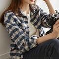 Neue Ankunft Frühling Mode Frauen Langarm Shirt Adrette drehen-unten Kragen Lose Plaid Bluse Casual Damen Tops d222