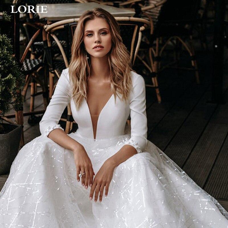 LORIE Lace Wedding Dresses 2020 Long Sleeve V-neck Boho Bridal Gowns Satin Backless White Vestido De Noiva Plus Size Custom-made