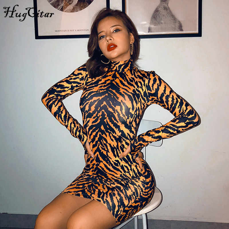 Hugcitar 2019 tiger print lange mouwen sexy mini jurk herfst winter vrouwen streetwear club party streetwear outfits