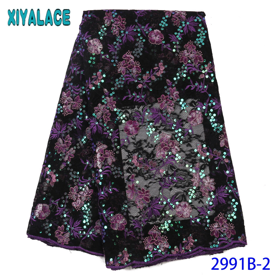 2019 African Fabric Lace Hot Sale Sequin Fabric High Quality Nigerian Embroidery Lace Fabrics With Sequins KS2991B-2