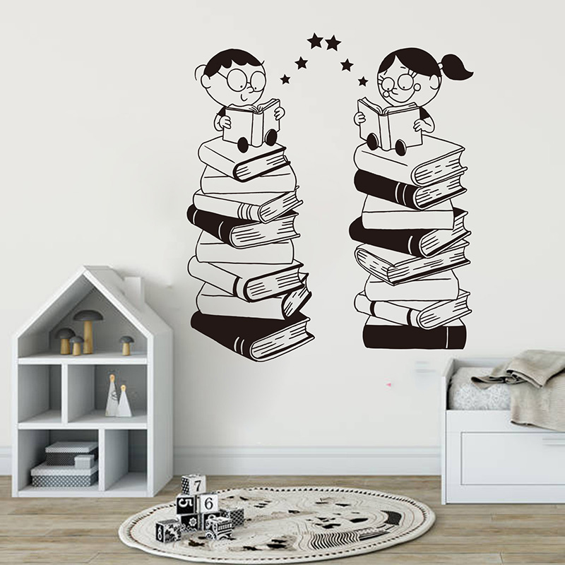 Cartoon Classroom  Child Read Book Wall Sticker Library  School Large Book Kids  Wall Decal Bedroom Vinyl Decor