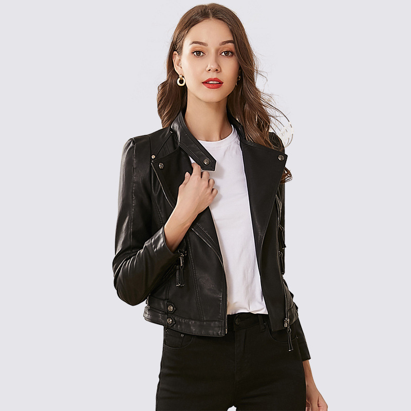Liva girl European Style PU   Leather   Jacket 2019 New Autumn Motorcycle   Leather   Outwear Women Slim Biker Coat Basic Streetwear