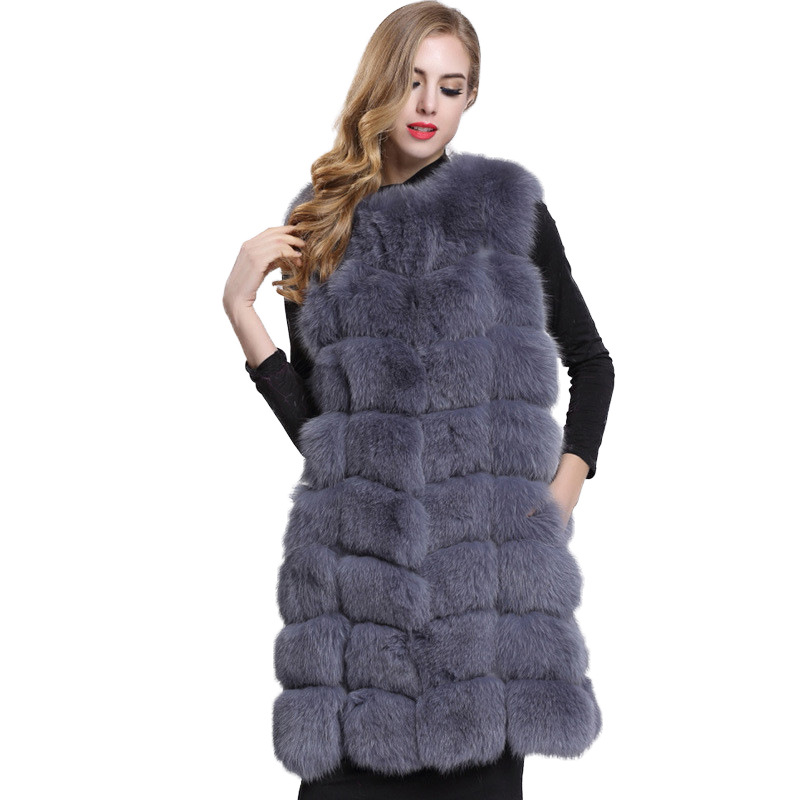 New Women's Large Fur Vest Vest Medium Long Fox Fur Fur Fur Coat Imitation Fur Vest Coats and Jackets Women
