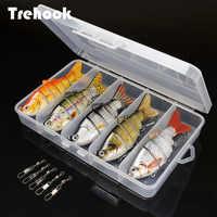 TREHOOK 5pcs Sinking Wobbler Set Crankbaits Kit di Pesca Esche Artificiali Esca Dura Lure Swimbait Pike Wobblers Per Bass Fishing Tackle