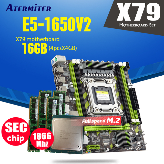 Atermiter X79 X79G motherboard LGA2011 mini ATX combos E5 1650 V2 SR1AQ CPU 4pcs x 4GB = 16GB DDR3 RAM 1866Mhz PC3 14900R