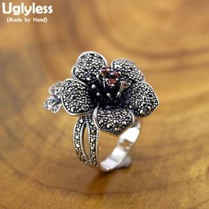 Женские винтажные кольца из тайского серебра, с двумя цветами, большие размеры, с цветами, однотонные кольца из серебра 925 пробы, гранат, ювел...