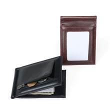 PU Leather Wallet Card Holder Fashion Credit Card Business Zipper Purse Clamp FMoney Bifold Card Holder Wallet Cash Money Bag