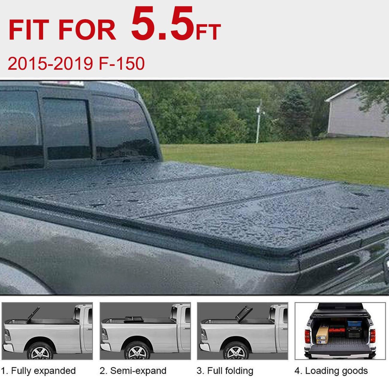 Samger (envío desde EE. UU.) cubierta de Tonneau tri-plegable suave negra de 5,5 pies para Ford F150 2015-2019 cubierta de cama de camión