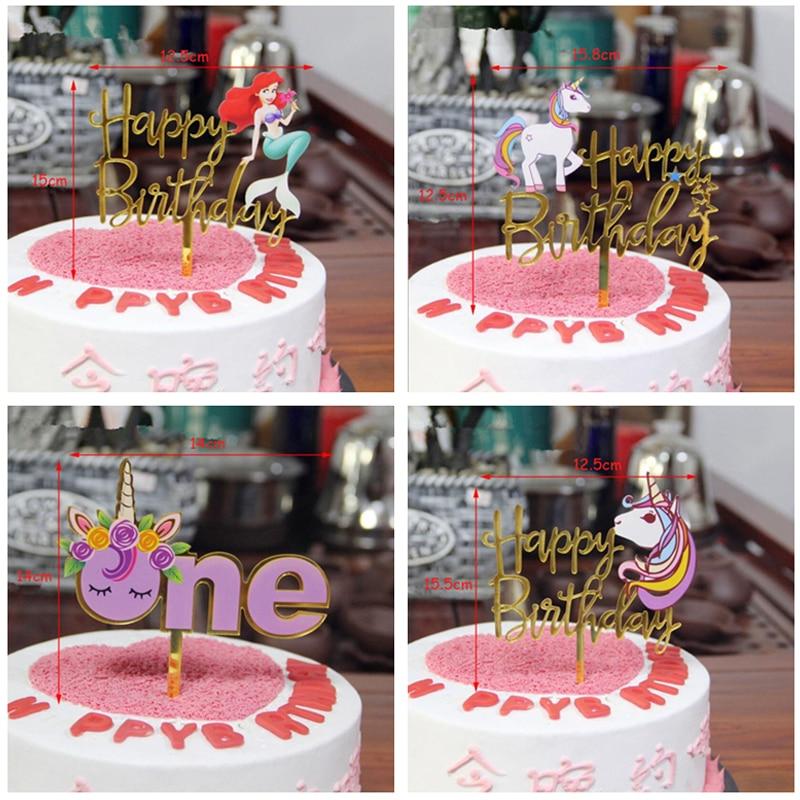 Gold Unicorn Flamingo Acrylic Cake Topper Happy Birthday Cupcake Topper For Baby Shower Mermaid Unicorn Party Cake Decorations