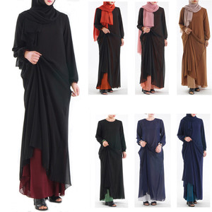 Long Muslim Women Wear On Both Sides Dubai Abaya Maxi Dresses Islamic Clothing Summer Sexy Casual O-Neck Muslim Women Clothes