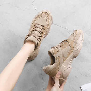 Women Sneakers Shoes White 2020 Spring Sport Thick Sole Lady Leisure Shoes Lace Up Comfortable Women Chunky Sneakers 932555 недорого