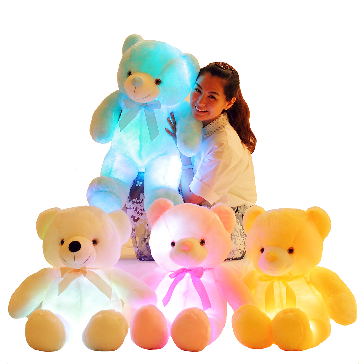 Luminous 25/30/50cm Creative Light Up LED Colorful Glowing Teddy Bear Stuffed Animal Plush Toy Christmas Gift For Kid