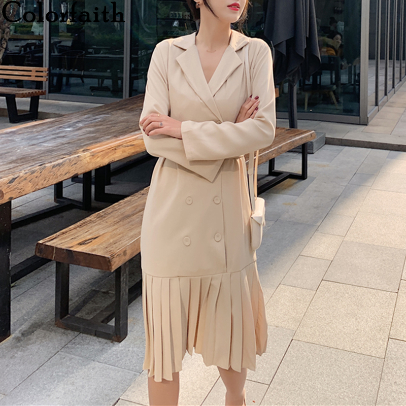 Colorfaith New 2020 Spring Summer Women Dress Vintage Double Breasted Empire Notched Loose Pleated With Belt Midi Dress DR6300