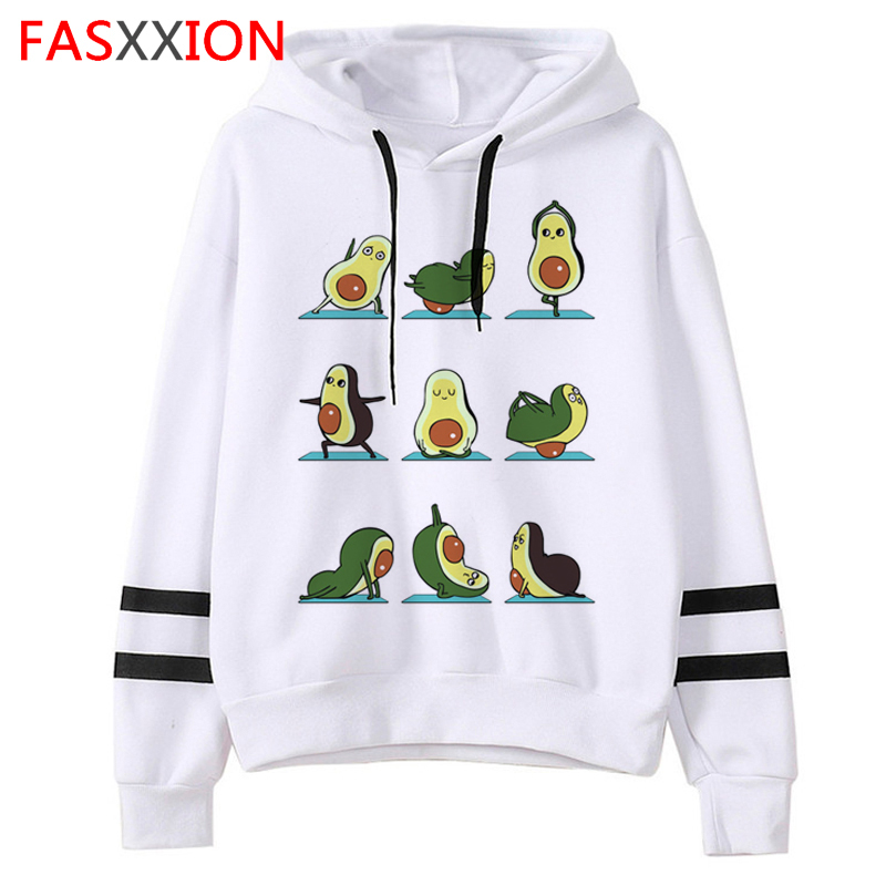 Kawaii Avocados Funny Cartoon Hoodies Women Harajuku Ullzang Graphic Vegan Sweatshirts 90s Cute Korean Style Hoody Female
