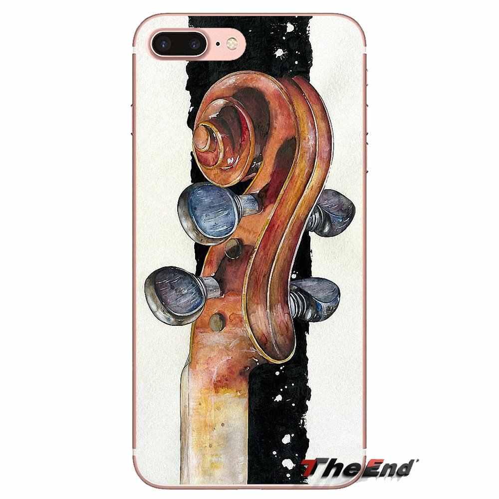 Coque Silicone couvre pour Samsung Galaxy S2 S3 S4 S5 MINI S6 S7 edge S8 S9 Plus Note 2 3 4 5 8 Coque Fundas noir violon élégant