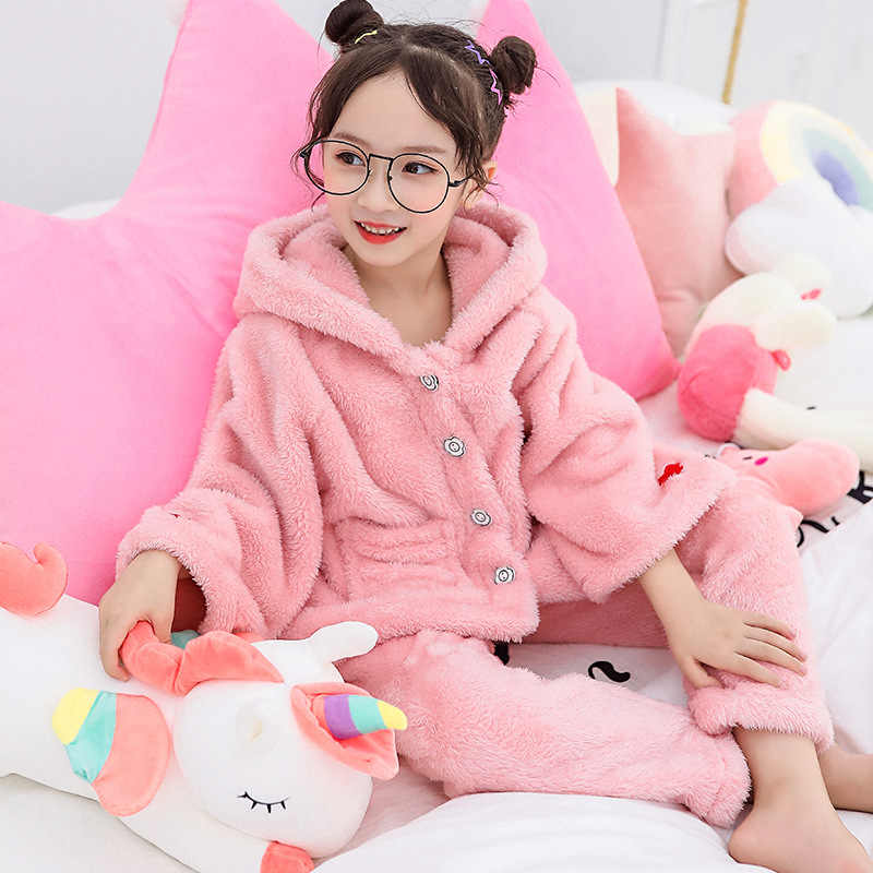 Pijamas de niños para niñas Pijamas gruesa franela con doble cara niños Pijamas conjunto ropa de dormir invierno 8 10 12 años niños ropa de casa