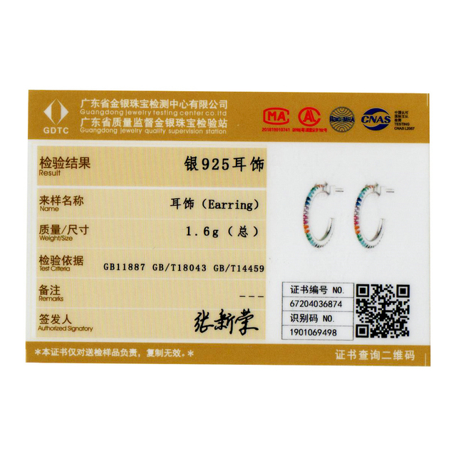 bamoer Rainbow Color Half Hoop Earrings for Women Real 925 Sterling Silver CZ Wedding Enagement Statement Jewelry SCE837
