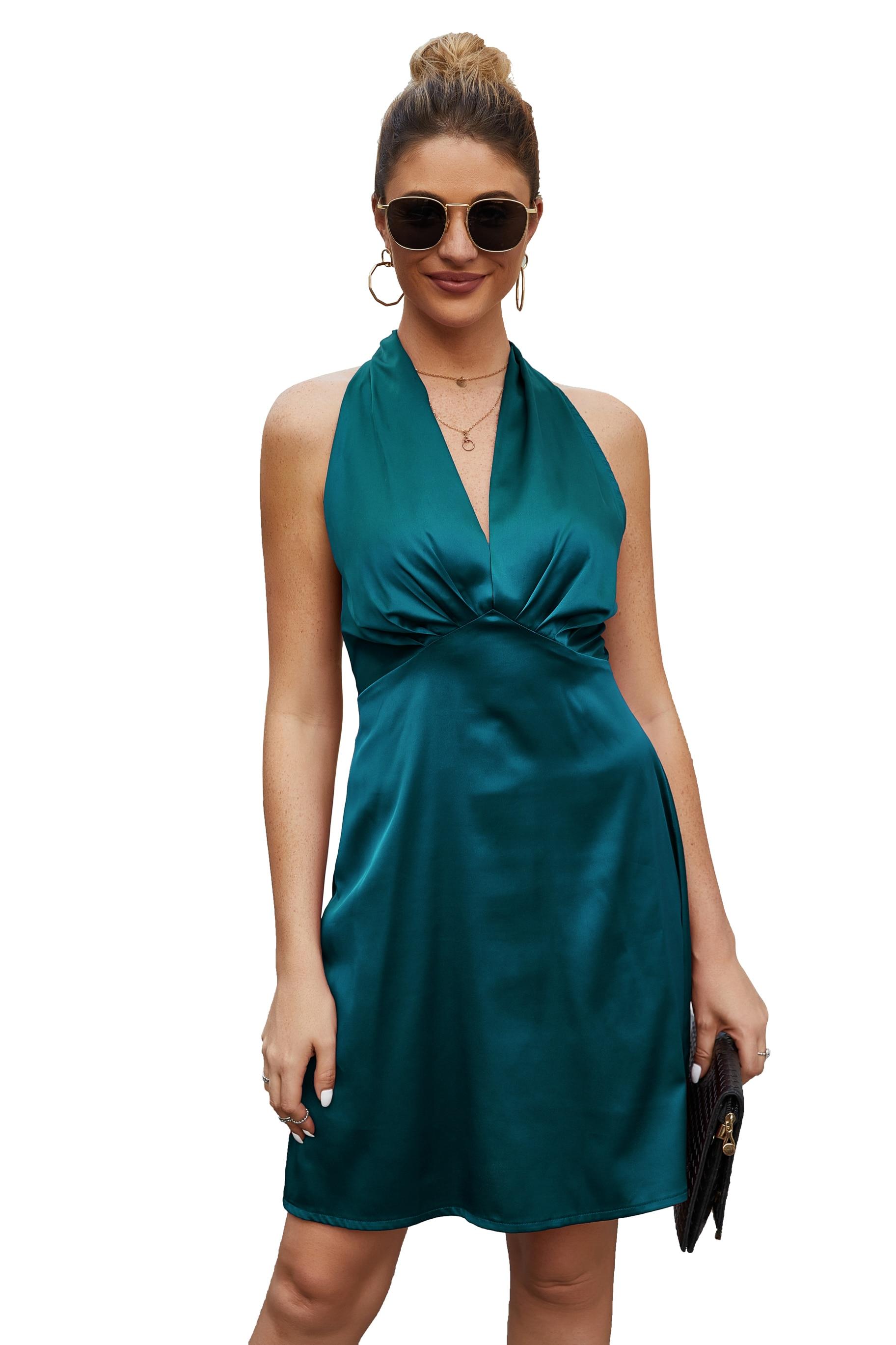 Женское платье с v образным воротом сексуальным вырезом на спине